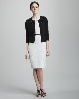 kate spade new york kati bead-neck cardigan & chondra summer-tweed belted dress
