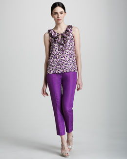 kate spade new york jenn sleeveless printed top & mandy cropped pants