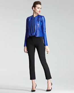 Giorgio Armani Laser-Cut Leather Jacket, Waterfall-Pleat Blouse & Cropped Jersey Pants