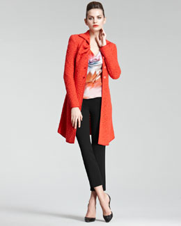 Giorgio Armani Contrast-Seam Knit Coat, Drape-Neck Blouse & Cropped Stretch Wool Pants