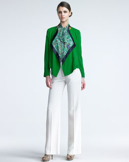 Etro Draped-Collar Jacket, Tie-Neck Paisley Blouse & High-Waist Pants
