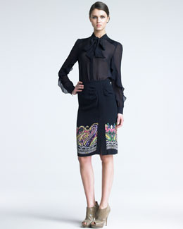 Etro Tie-Neck Blouse & Paisley Skirt