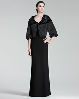 Armani Collezioni Cropped Satin Evening Jacket & Trapunto-Detail Cap-Sleeve Gown