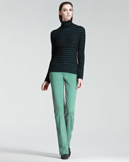 Armani Collezioni Striped Turtleneck & Colored Jeans