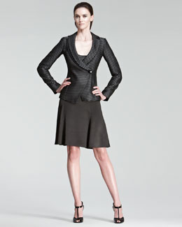 Armani Collezioni Striped Jacket, Tank & Flared Satin Skirt