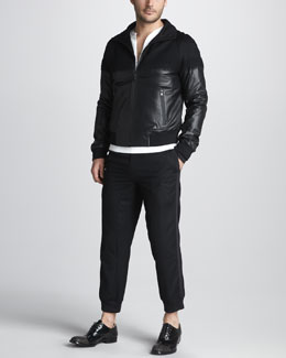 Alexander McQueen Leather/Cashmere Jacket, Colorblock Sweatshirt & Grosgrain-Trim Cropped Pants