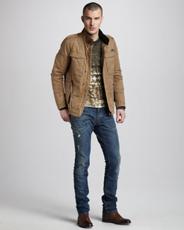 Just Cavalli Cotton-Blend Field Jacket, Python-Print Sweater & Dirty Stone-Wash Jeans