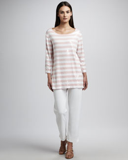 Joan Vass Sequin Striped Tunic & Slim Ankle Pants