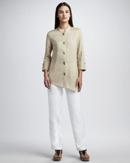 Go Silk Asymmetric Linen Blouse & Straight-Leg Pants