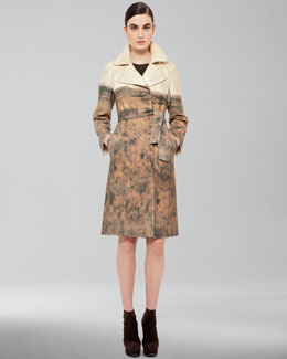 Akris Printed Tie-Waist Coat & Sleeveless Knit Dress