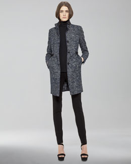 Akris punto Grosgrain-Waist Tweed Coat, Sleeveless Turtleneck & Front-Zip Leggings
