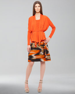Akris Punto Dropped-Shoulder Cardigan, Scoop-Neck Shell & Ikat-Print Skirt