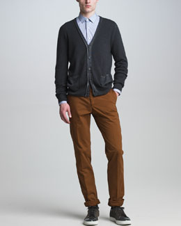 Lanvin Stone-Wash Cotton Cardigan, Grosgrain-Detail Check Shirt & Side-Seam Chino Pants