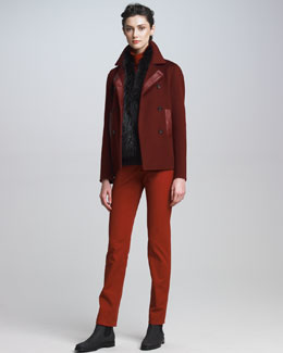 Loro Piana Double-Breasted Coat, Colorblock Cashmere Turtleneck, Slim Stretch Cotton Pants & Fox Fur Shawl Collar