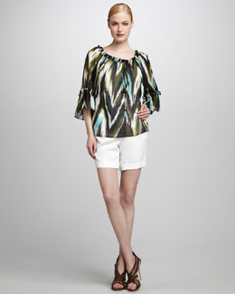 Milly Printed Ruffle Blouse & Sofie Cuffed Walking Shorts