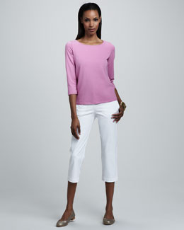 Eileen Fisher Boat-Neck Jersey Top & Slim Twill Capri Pants