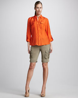 Go> by Go Silk Safari Shirt & Go-to-Work Stretch Silk Shorts