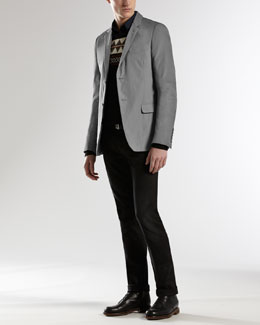 Gucci Palma Padded Jacket, Embroidered-Crest Classic Sweater & Horsebit & Web Detail Skinny Jeans