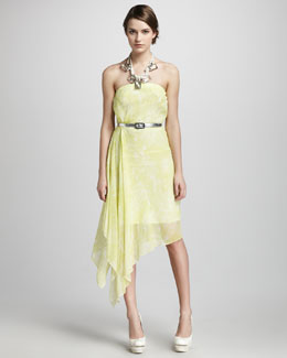Robert Rodriguez Chiffon Handkerchief Dress & Rope & Crystal Necklace