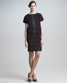 Piazza Sempione Embroidered Cap-Sleeve Jacket & Shift Dress