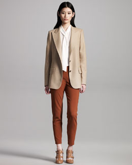 Chloe Boyfriend Blazer, Tie-Neck Blouse & High-Waist Wool Pants