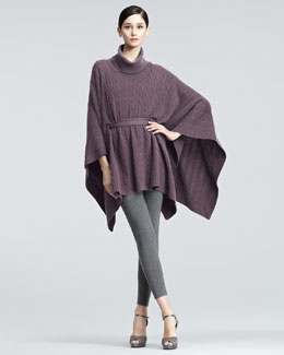 Ralph Lauren Black Label Oversized Cable Knit Poncho & Cashmere Leggings