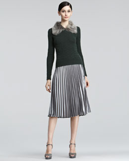 Ralph Lauren Black Label Fur-Collar Cable-Knit Sweater & Pleated Satin Skirt