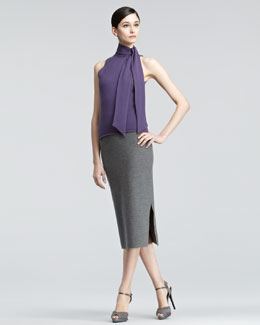 Ralph Lauren Black Label Tie-Neck Turtleneck & Jersey Pencil Skirt