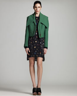 Stella McCartney Cropped Spread-Collar Jacket & Monogram-Print Shift Dress