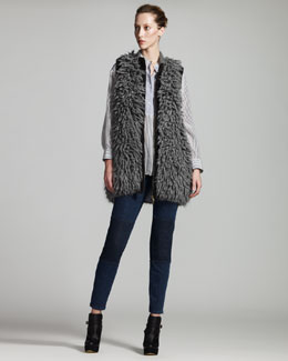 Stella McCartney Fur-Effect Gilet, Striped Poplin Tunic & Knee-Patch Skinny Jeans