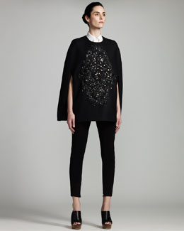 Stella McCartney Beaded Cape, Sleeveless Poplin Blouse & Zip-Cuff Denim Leggings