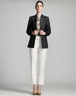 Stella McCartney Stand-Collar Jacket, Lace-Print Jersey & Shell Straight-Leg Pants