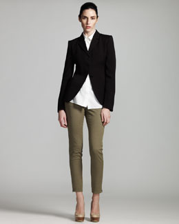Stella McCartney Three-Button Equestrienne Jacket, Sleeveless Poplin Blouse & Skinny Jeans