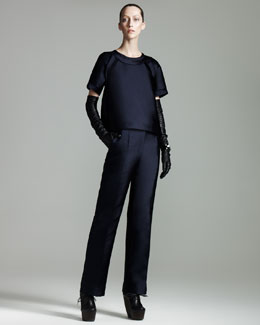 Lanvin Duchesse Tech-Fabric Pants & Inside-Out Seamed Blouse