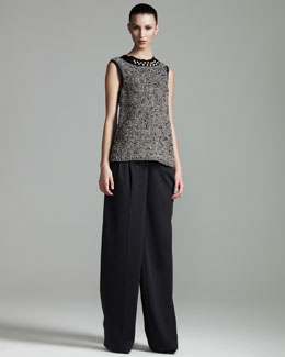 Lanvin Pearl-Trimmed Top & Wide-Leg Pants
