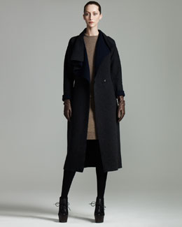 Lanvin Draped-Collar Coat, Melange-Knit Top & Skirt