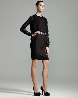 Lanvin Lace-Inset Cardigan & Sleeveless Sheath Dress