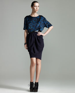 Lanvin Heart-Print T-Shirt & Draped Crepe Skirt