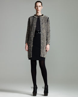 Lanvin Pearl-Neck Tweed Coat, Lace-Sleeve Top & Sateen Pencil Skirt