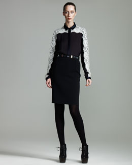 Lanvin Lace-Overlay Blouse & Sateen Pencil Skirt