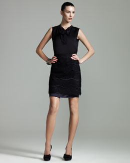 Lanvin Sleeveless Tie-Neck Blouse & Two-Tone Lace Skirt