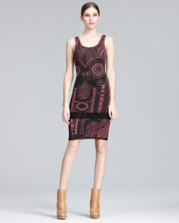 Jean Paul Gaultier Printed Scoop-Neck Tank & Formfitting Skirt