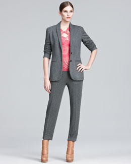 Jean Paul Gaultier Shawl-Lapel Pinstripe Jacket, Cropped Pants & Printed Cross-Neck Tee