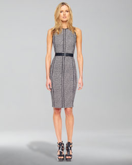 Michael Kors  Merino Half-Sleeve Shrug & Cady Tweed Belted Sheath Dress