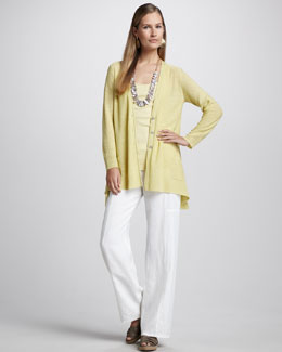 Eileen Fisher Knit Linen Cardigan, Organic-Cotton Tank & Linen Wide-Leg Pants