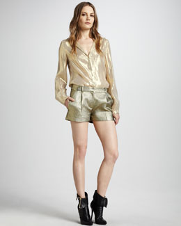 Diane von Furstenberg Gale Metallic Blouse & Naples Metallic Twill Shorts