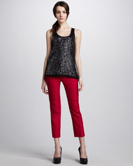 Diane von Furstenberg Fran Sequined Tank & Georgine Slim Cropped Pants