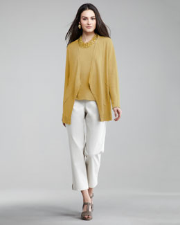 Eileen Fisher Open Knit Cardigan, Shell & Twill Ankle Pants, Women's