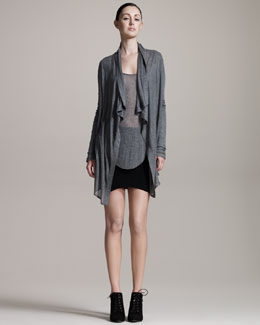 HELMUT Helmut Lang Voltage Draped Cardigan, Long-Sleeve Sheer Tee & Jersey Cocoon Skirt