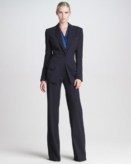 Donna Karan Fluid Stretch Suit & Tissue Satin Bodysuit